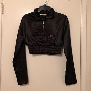 Black Long Sleeve Crop Top Athletic